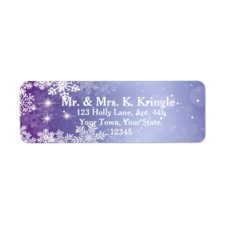 Winter Snowflakes On Purple Address Labels