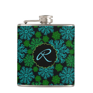 Winter Snowflakes Pattern with Monogram Hip Flask