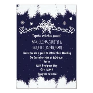 Winter Snowflakes & Pine Tree Wedding Invitation
