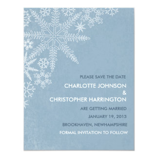 Winter Snowflakes Save the Date Announcement