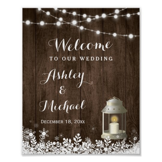 Winter Snowflakes String Lights Wedding Sign