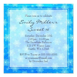 Winter Snowflakes Sweet 16 Wonderland 13 Cm X 13 Cm Square Invitation Card