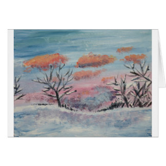 Winter Sunset painted blank greeting card