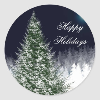 Winter Tree Custom Holiday Card Envelope Seals Round Sticker