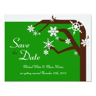 Winter Tree Green Snowflake Save the Date 11 Cm X 14 Cm Invitation Card