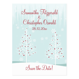 Winter Trees and Snowflakes Save the Date Postcard