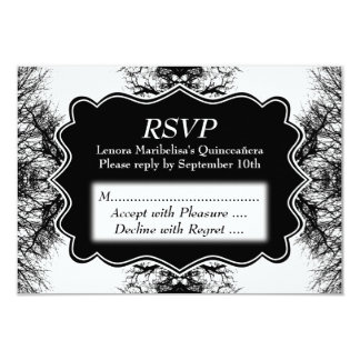 Winter Trees Pattern Quinceanera 9 Cm X 13 Cm Invitation Card