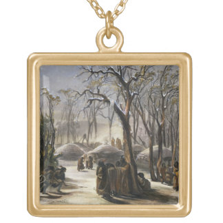 Winter Village of the Minatarres, plate 26 from Vo Gold Plated Necklace