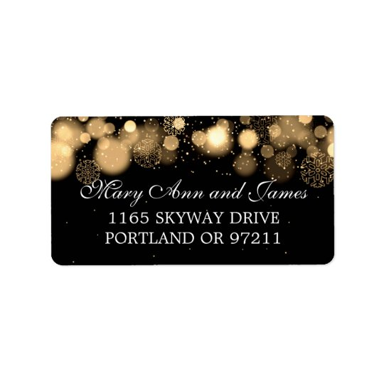 Winter Wedding Address Gold Lights Label