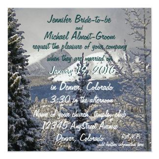 Winter Wedding Bride and Groom 13 Cm X 13 Cm Square Invitation Card