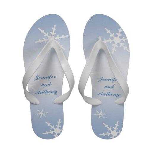 Winter Wedding Bride and Groom Flip-Flops