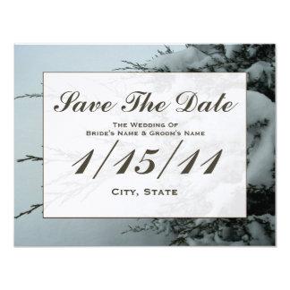 Winter Wedding Evergreen Tree Snow Save The Date Card