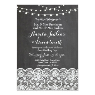 Winter Wedding Lights Chalkboard Lace Party Invite