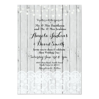 Winter Wedding Lights Wood Lace Party Invitation