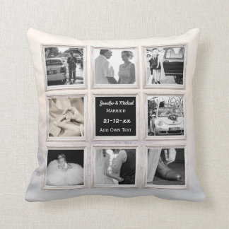 Winter Wedding Photo Collage Or Anniversary Snow 2 Cushion