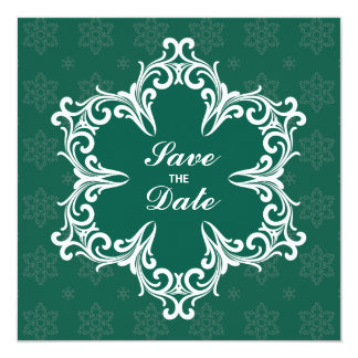 Winter Wedding Save the Date Announcement in Pine