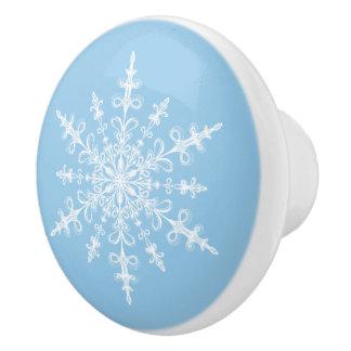 Winter White Snowflake on Light Cornflower Blue Ceramic Knob