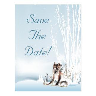 Winter Wolf Wedding Save The Date Postcard