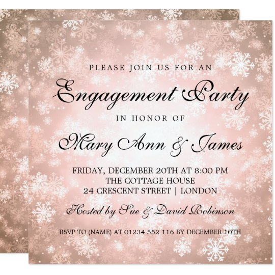 Winter Wonderland Elegant Engagement Party Copper Card