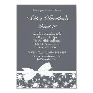 Winter Wonderland Gray Snowflake Bow Sweet 16 13 Cm X 18 Cm Invitation Card