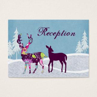 Winter Woodland Deer Wedding Reception Cards