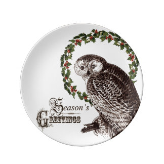 winter woodland owl plate
