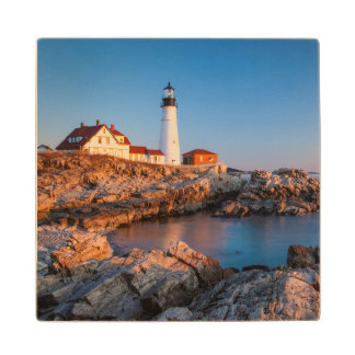 Winters dawn at Portland Head Lighthouse Wood Coaster