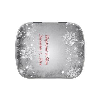 Wintery Grey Wedding Candy Tins