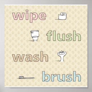 Wipe Flush Wash Brush Poster