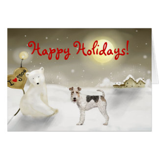 Wire Fox Terrier Holiday Card