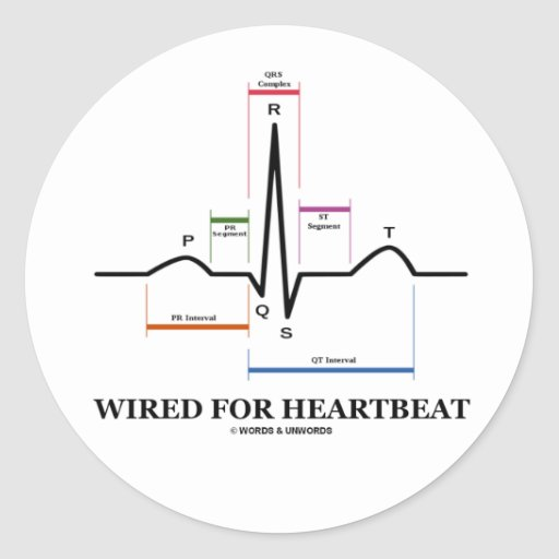 Wired For Heartbeat (ECG/EKG Sinus Rhythm) Stickers