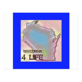 """Wisconsin 4 Life"" State Map Pride Design Postcard"