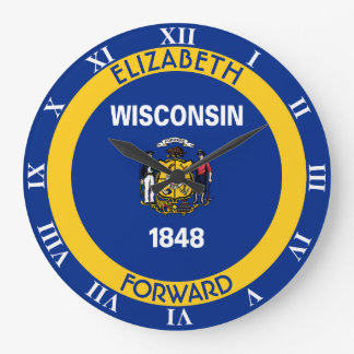 Wisconsin Badger State Personalized Flag Large Clock