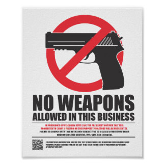 Wisconsin Concealed Carry Sign - Business