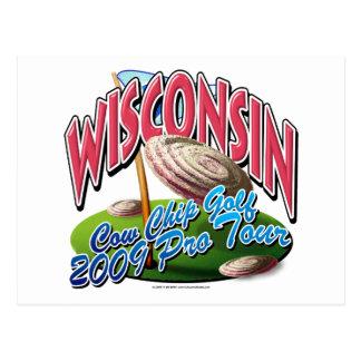Wisconsin Cow Chip Golf Postcard