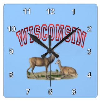Wisconsin deer scene Wall Clock