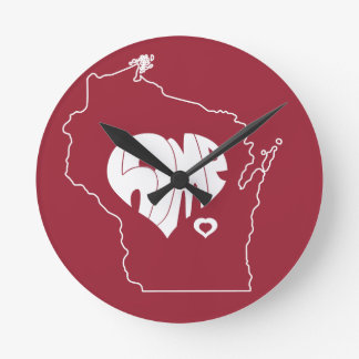 Wisconsin Home T-Shirt Round Clock
