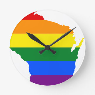 Wisconsin LGBT Flag Map Round Clock