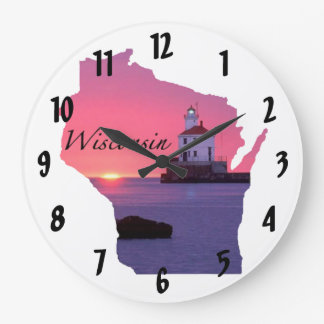 Wisconsin Lighthouse Wall Clock