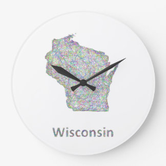 Wisconsin map large clock