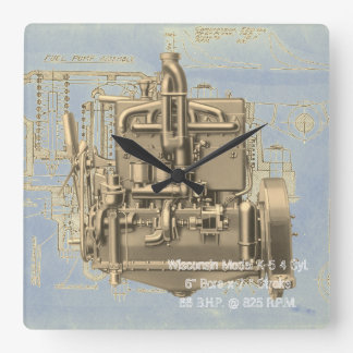 Wisconsin Motor Milwaukee Wisconsin Engine Early K Square Wall Clock