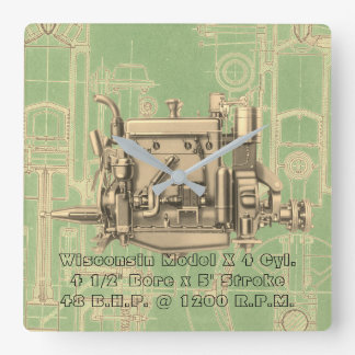 Wisconsin Motor Milwaukee Wisconsin gas engine X Square Wall Clock