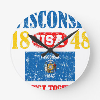 WISCONSIN PERFECT TOGETHER DISTRESSED PRODUCTS ROUND CLOCK