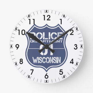 Wisconsin Police Department Shield 01 Round Clock