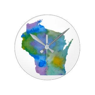 Wisconsin silhouette round clock
