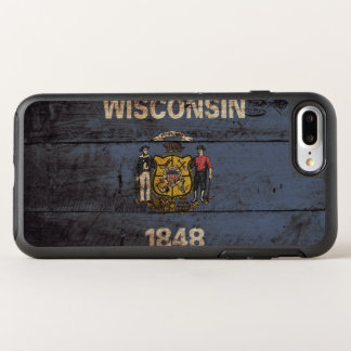 Wisconsin State Flag on Old Wood Grain OtterBox Symmetry iPhone 8 Plus/7 Plus Case