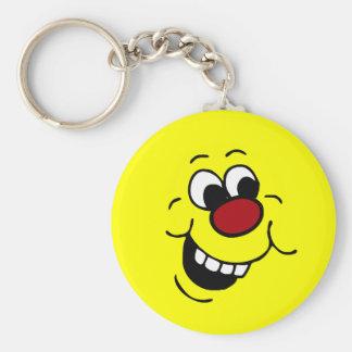 Wise Smiley Face Grumpey Basic Round Button Key Ring