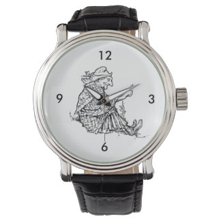 Wise Woman Grandmother Sketch Design Watch