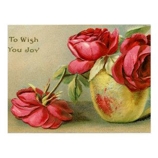 Wish You Joy Vintage Floral Postcard