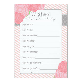 Wishes for Baby Shower card. Pink 13 Cm X 18 Cm Invitation Card